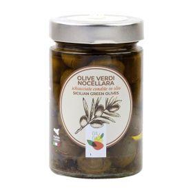 giù giù olive nocellara schiacciate in olio sicilia siciliano prezzemolo e vitale