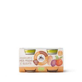 Alce Nero Baby omogeneizzato di mela e prugne e biscotto bio gr. 80 x 2